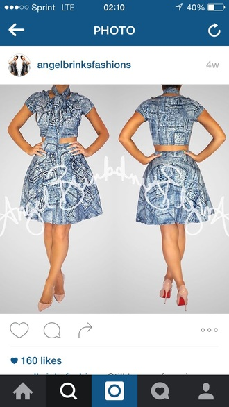 print printed dress matching set two piece dress set