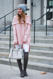 twenties girl style,blogger,sweater,jeans,shoes,bag,hat,beanie,winter outfits,pink sweater,handbag,grey bag,grey boots,white jeans