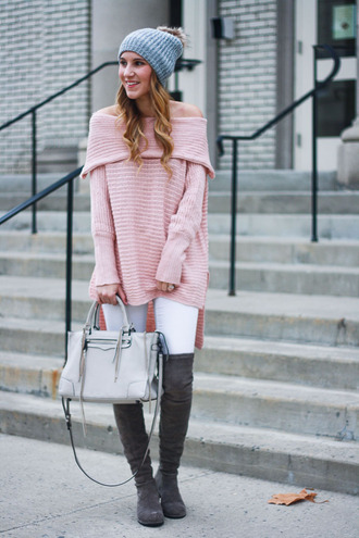 twenties girl style blogger sweater jeans shoes bag hat beanie winter outfits pink sweater handbag grey bag grey boots white jeans