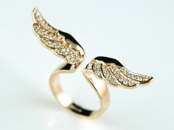 jewels ring wings gold diamonds jewelry angel