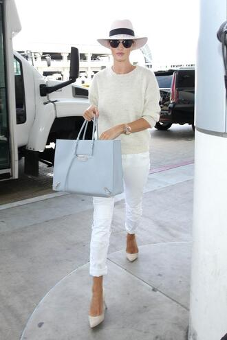 sweater pants pumps hat rosie huntington-whiteley shoes purse bag model off-duty
