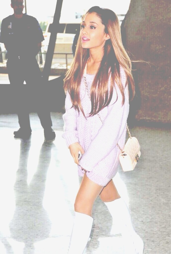 sweater ariana grande purple angel beige coat ariana grande sweater
