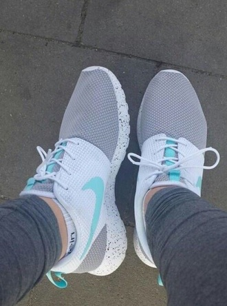 shoes teal grey roshe runs