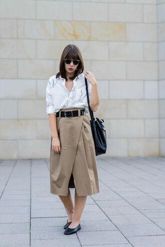 shirt tumblr white shirt skirt midi skirt nude skirt wrap skirt shoes flats belt bag sunglasses
