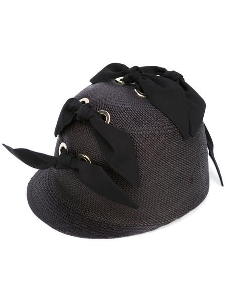 bow embellished hat black