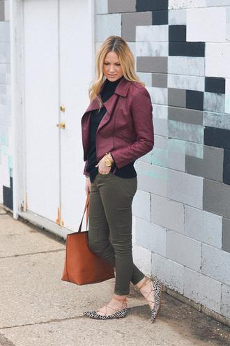 styleinasmalltown blogger sweater jeans jacket bag jewels tote bag ballet flats green pants spring outfits khaki pants burgundy jacket
