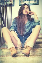 shirt,builder boots,frilly socks,denim shorts,denim shirt
