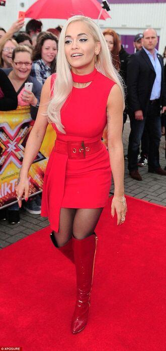 dress red dress mini dress sexy dress clubwear bodycon dress boots red boots rita ora celebrity style celebrity
