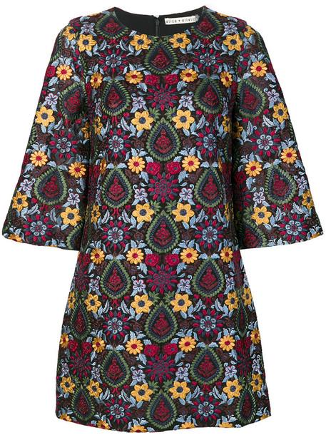 Alice+Olivia dress shift dress embroidered women spandex floral black