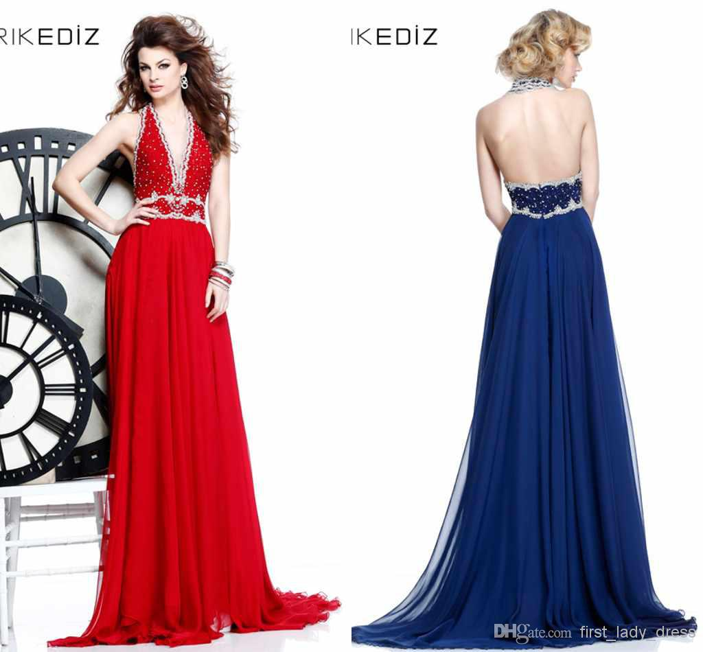 Discount Luxury Sexy Red Blue Halter Open Back Prom Dresses Beads Applique Tarik Ediz Grace Gorgeous Backless Long Chiffon Formal Evening Dress Gown Online with $112.79/Piece | DHgate