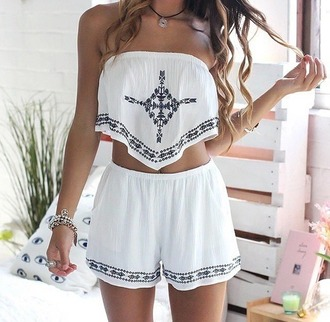 jumpsuit white top pants cute boho chic boho bohemian tumblr beach summer summer outfits black indie