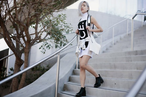 feral creature blogger backpack shift dress