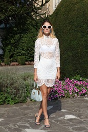 from brussels with love,blogger,dress,bag,sunglasses,jewels,shoes,lace dress,white dress,see through,mini dress,mini bag,round sunglasses