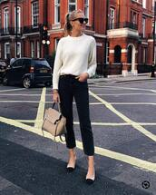 sweater,knitted sweater,jeans,black jeans,cropped jeans,pumps,handbag,sunglasses