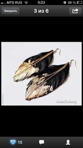 jewels,black earrings,feather earrings