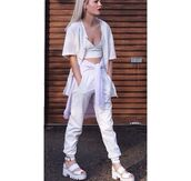 tank top,white leather,bralette,baseball jersey,white,cocaine,joggers,sports luxe,net,sweater,chunky,sandals,blanco,jacket,pants,shoes,all white everything