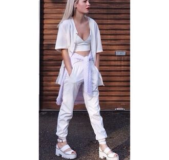 pants jacket shoes sweater white tank top white leather bralette baseball tee cocaine sweatpants sports luxe net chunky sandals blanco all white