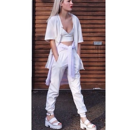 blanco sweater jacket white tank top white leather bralette baseball tee cocaine sweatpants sports luxe netted chunky sandals all white pants shoes