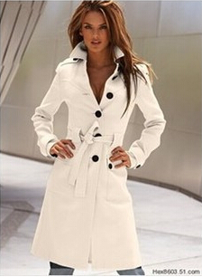 Shop 2015 winter spring light white wool coat trench coat for ...