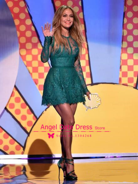 Aliexpress.com : Buy See Through Lace Long Sleeves Jennifer Lopez Green Celebrity Dress Elie Saab 2014 Summer New Dresses Short High Neck Red Carpet from Reliable carpet country suppliers on Angel Date Dress Store