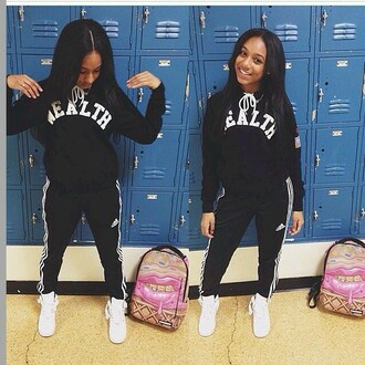 sweater sweater/sweatshirt sweatshirt urban wealth hoodie hoodie bag black wealth adidas adidas suit shoes sneakers black and white joggers black girls killin it dope shorts pants jacket