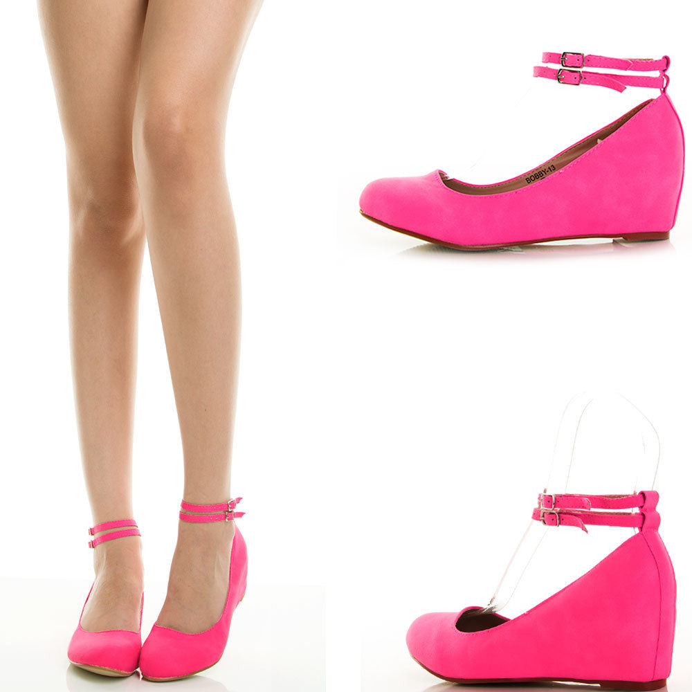 Hot Pink Ankle Strap Hidden Wedge Heel Womens Ballet Flat ...
