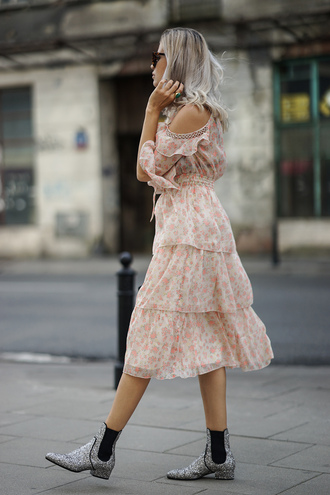 dress tumblr floral floral dress midi skirt ruffle ruffle dress boots ankle boots glitter shoes glitter shoes