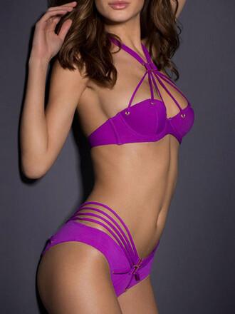swimwear mynystyle purple strappy bikini summer summer dress