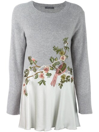 jumper embroidered women silk wool grey sweater