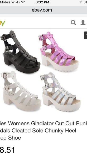 shoes pink white black sandals platform sandals wedge sandals