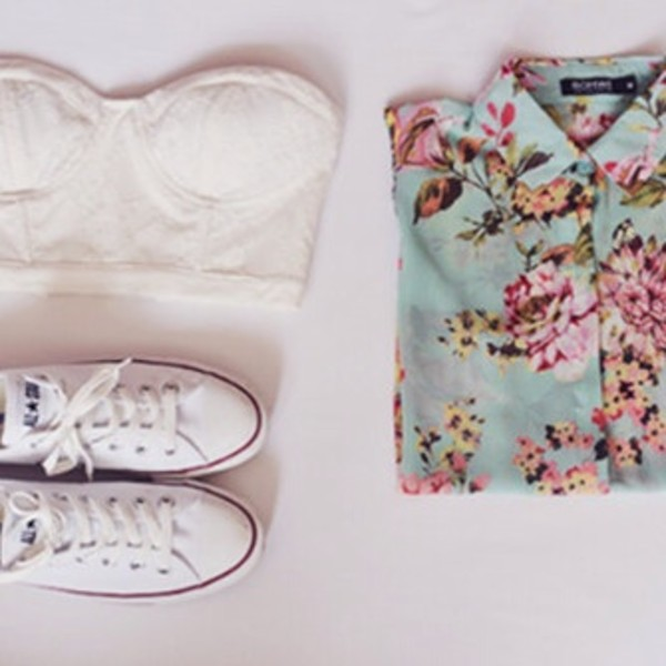 blouse flowers floral shoes