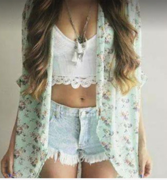 jacket floral jacket floral jacket seen in picture floral jacket iggy kimono floral kimono cardigan white jacket white kimono white cardigan blue jacket blue kimono blue cardigan top white top short jeans blue shorts blue jeans blouse vintage cute high heels girl girly swag jewels black and white boho t-shirt
