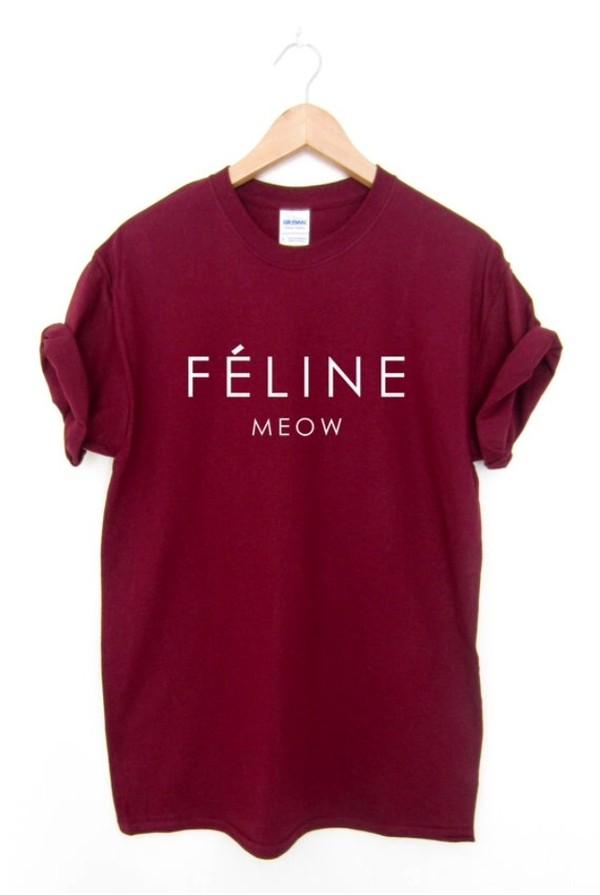 shirt t-shirt hipster grunge graphic tee graphic tee maroon/burgundy feline meow