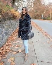 coat,black coat,fur coat,jeans,ripped jeans,ankle boots,leopard print,shoulder bag