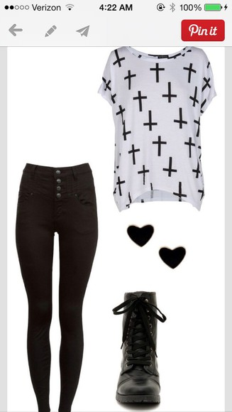 combat boots flowy cross jeggings t-shirt