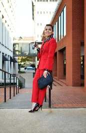 mysmallwardrobe,blogger,blouse,shoes,bag,sunglasses,jewels,fall outfits,red jacket,suit,red pants,pumps