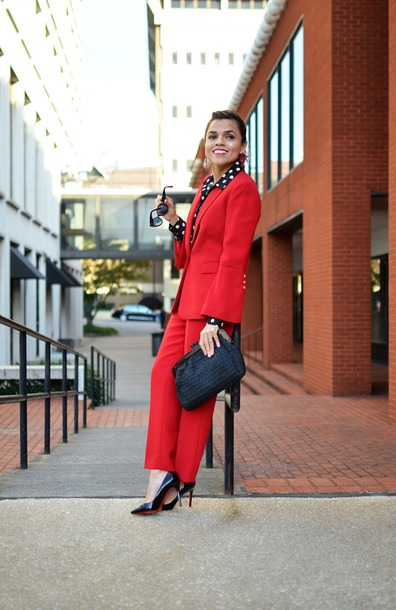 mysmallwardrobe blogger blouse shoes bag sunglasses jewels fall outfits red jacket suit red pants pumps
