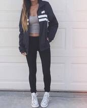 jacket,nike jacket,black and white,nike,coat,adidas,sweatshirt,black,white,navy,blue jacket,grey top,grey tank top,tank top,crop tops,grey crop top,black pants,black leggings,leggings,workout leggings,workout,sportswear,sweater,tumblr,fashion vibe,girly,grey,stripes,nike windbreaker,windbreaker,bleu marin,bleu,noir,lign?,blanc,zip,blue,striped top,cute,chic,sporty