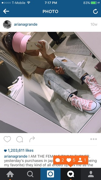 jeans hat white t-shirt white top top t-shirt pocket t-shirt denim heart pink shoes shoes converse visor