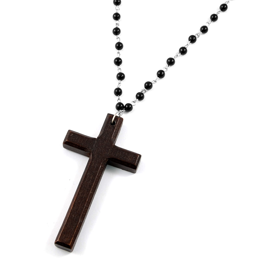 Wooden Cross Pendant Black Beads Linked Necklace for Women