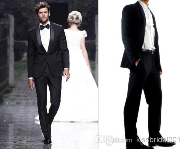 groom wear notch lapel man groomsman men wedding suits bridegroom jacket pants tie