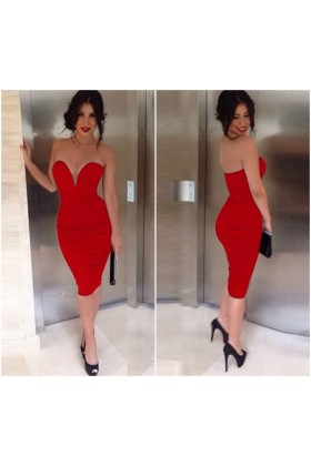 2015 ruffles red zipper satin evening dress