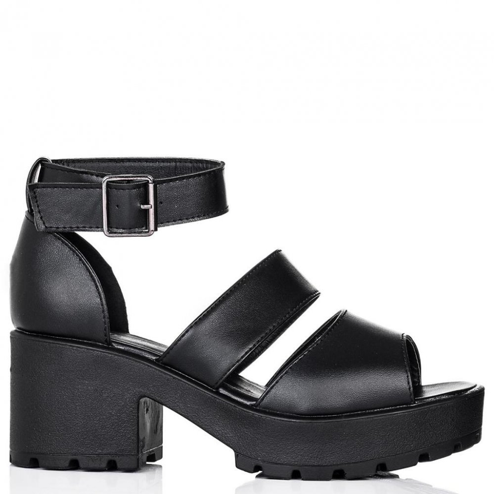 Buy COCKTAIL Cleated Sole Platform Gladiator Sandal Shoes Black Leather Style Online