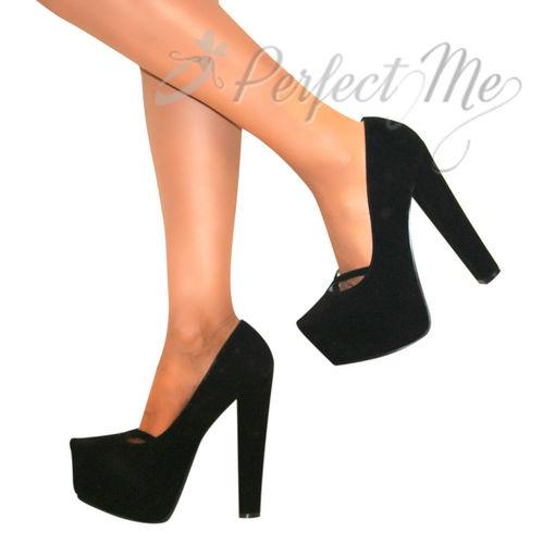 WOMENS SUEDE HIGH BLOCK HEELS COURT SHOE CONCEALED PLATFORM STILETTO PUMPS SIZE | Amazing Shoes UK