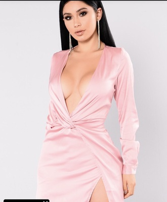 dress blush satin dress pink dress silk dress mini dress slit dress