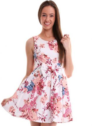 Sleeveless flare dress with pink