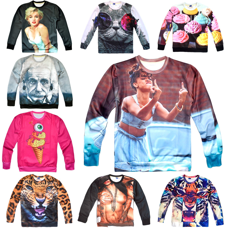 2014 Fashion Women/Men leopard Space print Pullovers galaxy sweatshirts panda/tiger/cat animal 3d sweaters Hoodies top blouse-inHoodies & Sweatshirts from Apparel & Accessories on Aliexpress.com