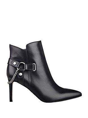 Baia Pointed-Toe Chain Booties at Guess