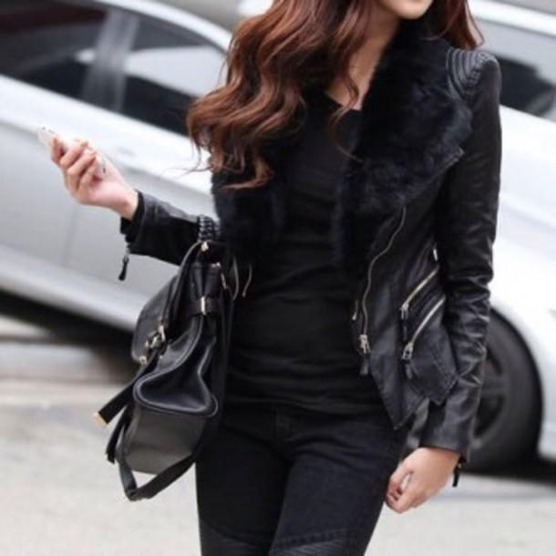 jacket black black jacket fur spring classy coat fur jacket fur vest spring jacket similar