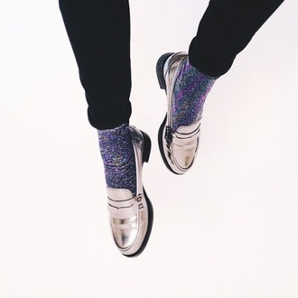 socks purple metallic fashion rainbow crewsocks cool hipster